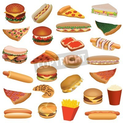 Fototapeta big fast food set