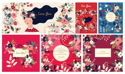 Fototapeta Big Floral collection of cards, invitations, posters. Valentines Day greetings. Set of Valentines day cards. Vector illustration of girl in love. Flyer, card, banner, brochure