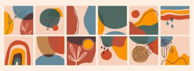 Fototapeta Big Set of Abstract backgrounds. Hand drawn doodle various shapes, leaves, face, spots, drops. Contemporary modern trendy Vector illustrations. Every background is isolated. Pastel colors