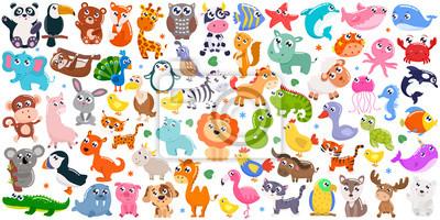 Fototapeta Big set of cute cartoon animals. Vector illustration.