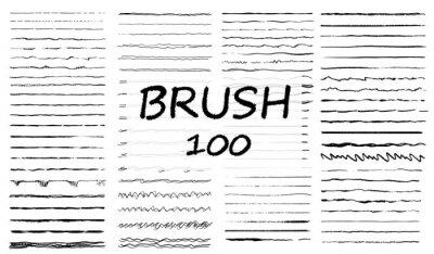 Fototapeta Big set of hand drawn line borders, scribble strokes and design elements isolated on white. Set of art brushes for pen. Hand drawn grunge brush strokes. Vector illustration