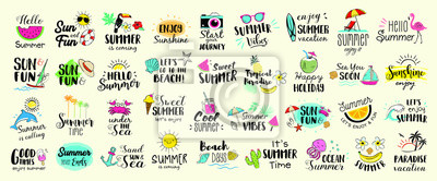 Fototapeta Big set of Summer labels, logos, hand drawn tags and elements for summer holiday, travel, beach vacation, sun. Vector illustration.