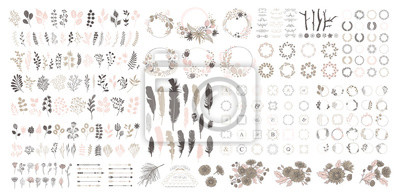 Fototapeta Big set with wreath, design elements, frames, calligraphic. Vector floral illustration with branches, berries, feathers and leaves. Nature frame on white background.