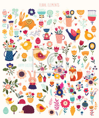 Big spring easter collection of flowers, leaves, birds, bunny and spring symbols