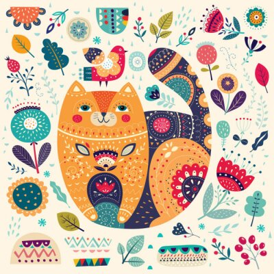 Big spring pattern with cat, flowers, leaves, birds and  decorative elements