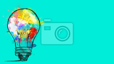 Fototapeta Big stylized light bulb on cyan background drawn with splashes of colored paint. Concept of innovation and creativity