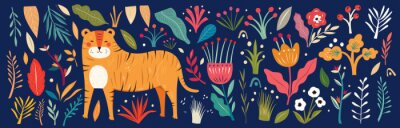 Big Vector colorful summer collection with flowers, leaves and tiger. Trendy vector cartoon illustration