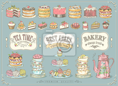 Fototapeta Big vintage collection of hand-drawn tea and kb bakery. Freehand drawing, sketch