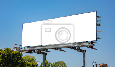 Fototapeta Billboard blank on a highway for advertisement, spring sunny day