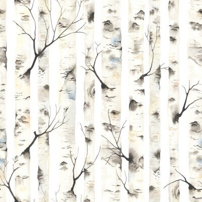 Fototapeta Birch trees with branches, watercolor seamless pattern. Forest illustration of stems on white background, nature template.