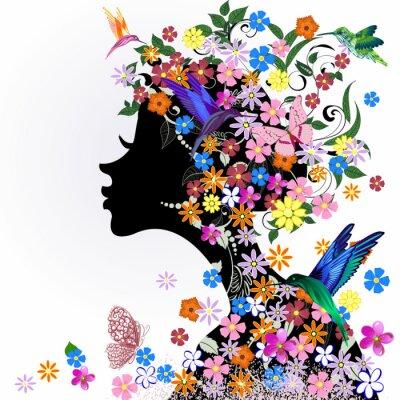 Fototapeta Bird Floral fryzurę, dziewczyna i motyl