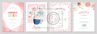 Fototapeta Birthday floral card set. Vector illustration.