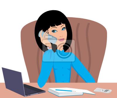 Biznes kobieta rozmawia przez telefon. wektor