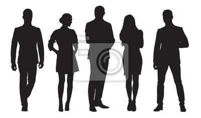 Fototapeta Biznes mężczyźni i kobiety, grupa ludzi w pracy. Sylwetki na białym tle wektor