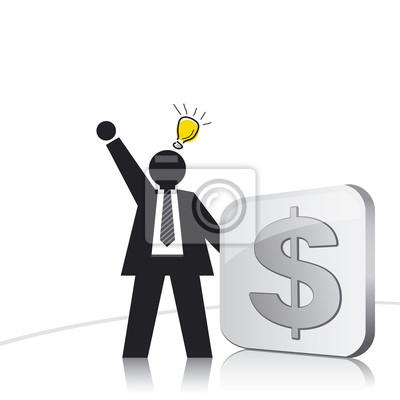 Biznesmen i znak dolara