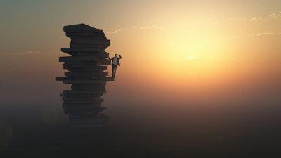 Fototapeta biznesmen stojący na stosie książek