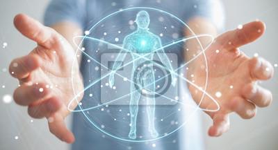 Fototapeta Biznesmen używa cyfrowego promieniowania rentgenowskiego ciała ludzkiego obrazu cyfrowego interfejsu renderingu