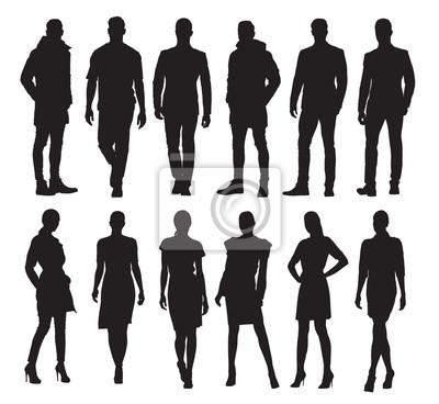 Fototapeta Biznesowi mężczyzna i kobiety w różnych pozach, set wektorowe sylwetki. Dorośli w formalnych strojach w pracy