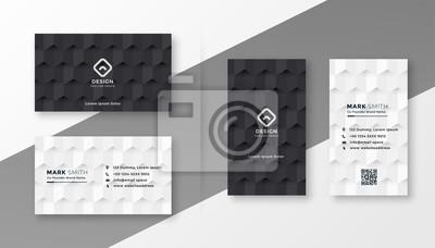 Fototapeta black and white business card design template