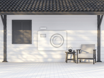 Fototapeta Black and white exterior wall 3d render,There are white wood plank wall,darkgray window, poles and roof ,Decorate with white fabric chair,Sunlight shining to the wall with tree shadow.