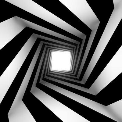 Fototapeta black and white square spiral