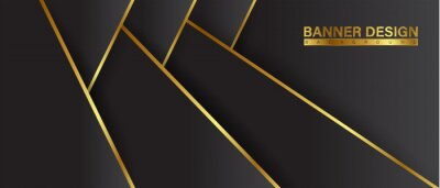 Fototapeta Black background gold with color composition in abstract. Abstract backgrounds with a combination of lines and circle dots can be used for your ad banners, Sale banner template, and More