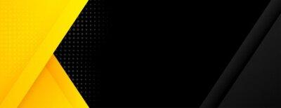 Fototapeta black banner with yellow geometric shapes
