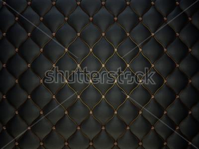 Fototapeta Black Buttoned luxury leather pattern with diamonds and gemstones. Useful as luxury pattern