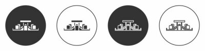 Fototapeta Black Formula 1 racing car icon isolated on white background. Circle button. Vector Illustration.