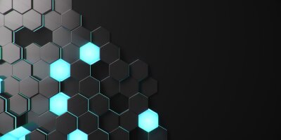 Fototapeta Black geometric hexagonal abstract background. Surface polygon pattern with blue glowing hexagons, honeycomb. Abstract blue self-luminous hexagons. Futuristic abstract background 3D Illustration