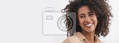 Fototapeta Black girl with white smile, copy space