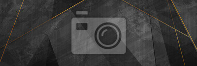 Fototapeta Black grunge corporate abstract background with golden lines. Vector banner design