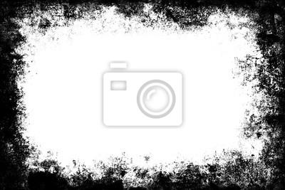 Fototapeta Black grunge texture border frame over white