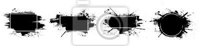 Fototapeta Black grunge with frame. Dirty artistic design elements, boxes, frames for text. Black splashes isolated on white background. Set of black paint, ink brush strokes, brushes, lines. Vector set