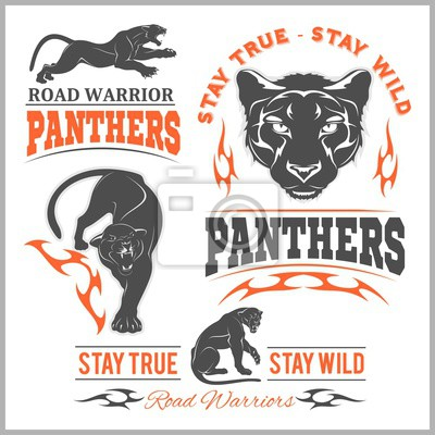 Fototapeta Black panther head. Mockup template animal symbol, logo, emblem or sticker for branding, printing, sports team.