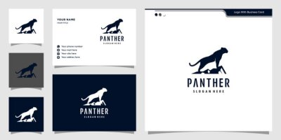Fototapeta Black panther logo illustration. strong, black, power, wild, Premium Vector