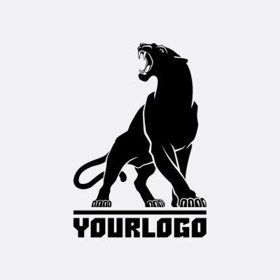Fototapeta black panther logo sign emblem silhouette vector illustration on white background animal