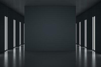 Fototapeta Black partition with copyspace in the center of stylish black room with led lights on walls. 3D rendering, mockup