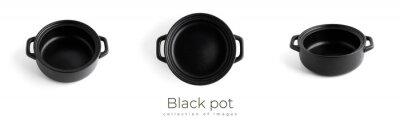 Fototapeta Black pot isolated on white background. Black kitchenware.