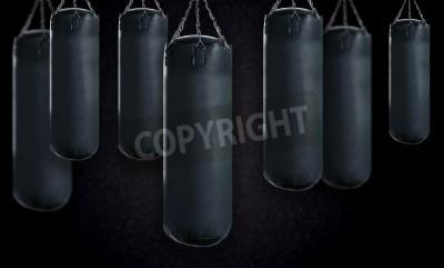 Fototapeta black Punching bag for boxing or kick boxing sport.