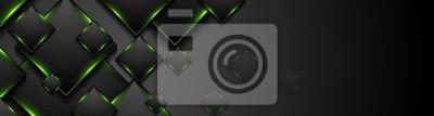 Fototapeta Black tech squares with green glowing neon light banner
