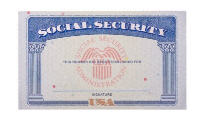 Fototapeta Blank and empty unfilled USA social security card isolated against a white background