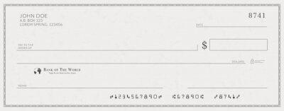 Fototapeta Blank bank check template. Fake cheque page mockup.