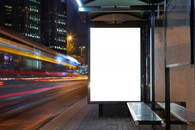 Fototapeta Blank billboard in night traffic
