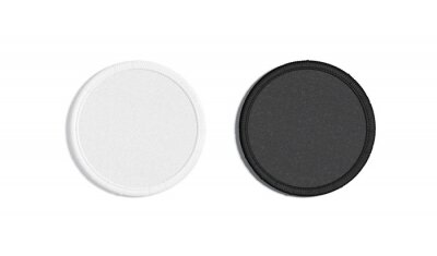 Fototapeta Blank black and white round embroidered patch mockup, top view