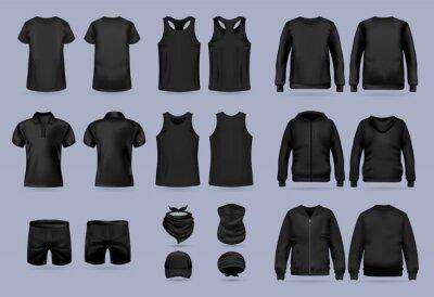 Fototapeta Blank black collection of men's clothing templates. T-shirt, hoodie, sweatshirt, short sleeve polo shirt, jacket bomber, head bandanas and cap, tank top, neck scarf and buff. Realistic vector mock up