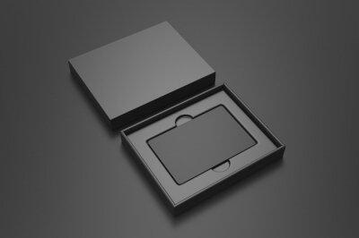 Fototapeta Blank gift card hard box for branding, 3d render illustration.