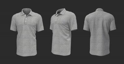 Fototapeta Blank grey collared shirt mockup in front, side and back views, 3d rendering, 3d illustration