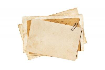 Fototapeta Blank old yellowed paper mockup for vintage photos or postcards