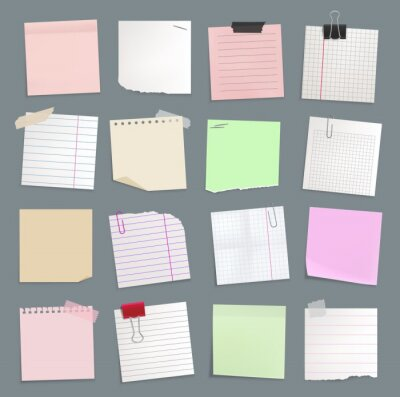 Fototapeta Blank paper notes, sticker notepads and to do memo messages, vector set. Sticky notes or sheet list posts on office board, memo notices and notepaper pages on adhesive tape, reminders on pin clips